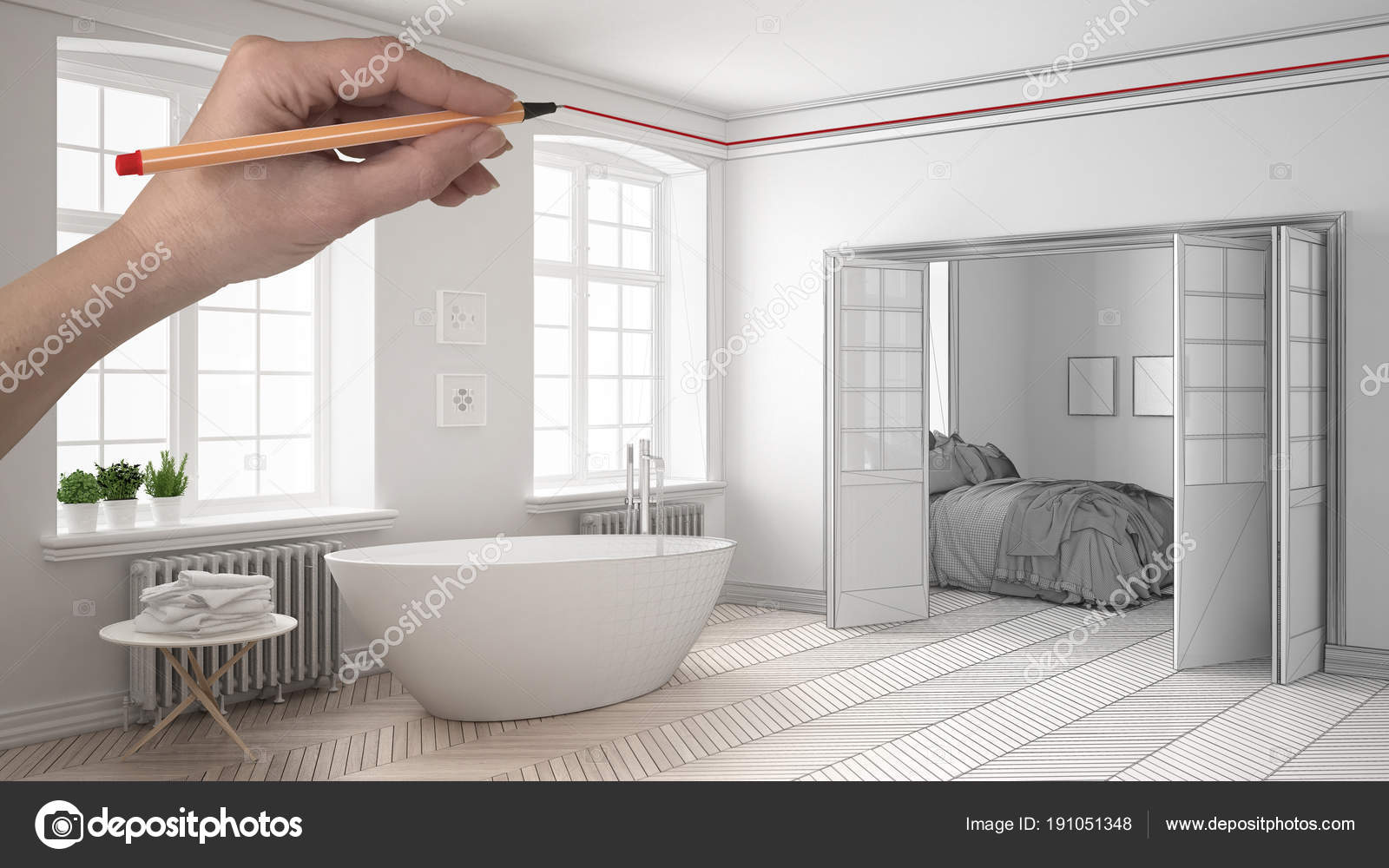Bagno classico moderno personalizzato bianco e legno con camera da