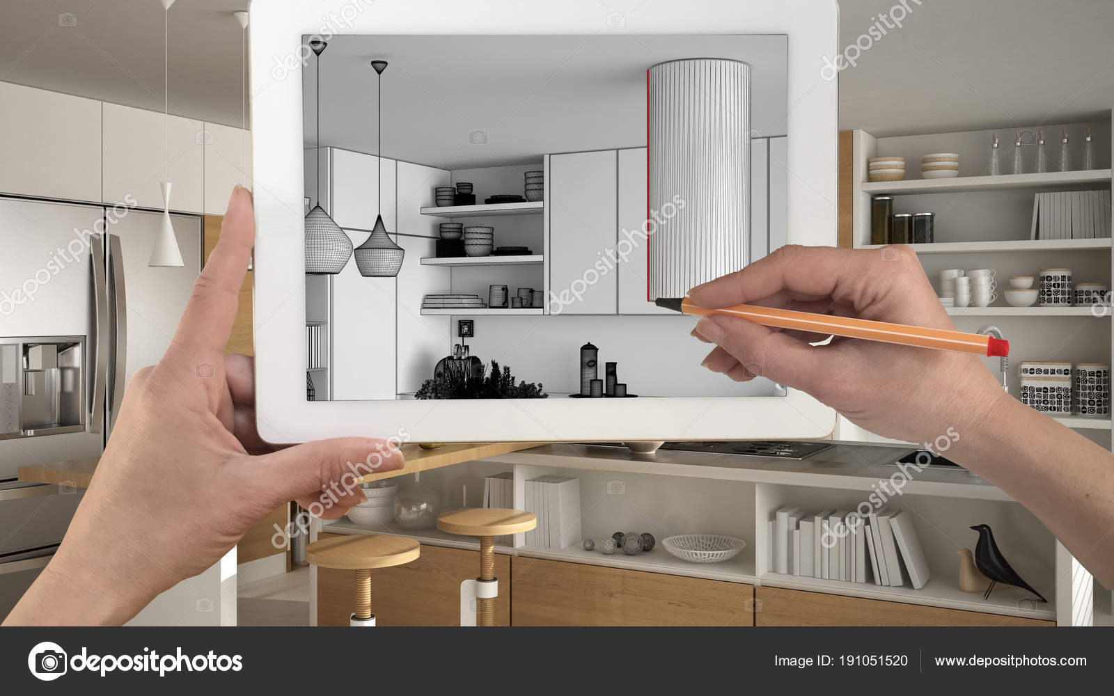 Hande Halten Und Zeichnen Auf Tablet Zeigt Moderne Kuche Sketc