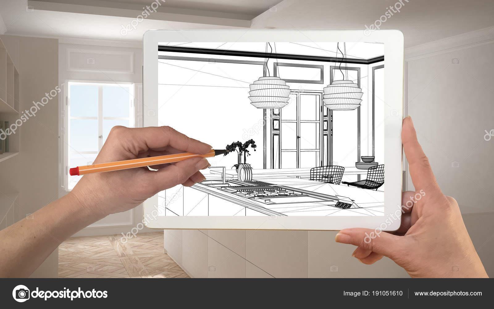 Hande Halten Und Zeichnen Auf Tablet Zeigt Moderne Kuche Cad S
