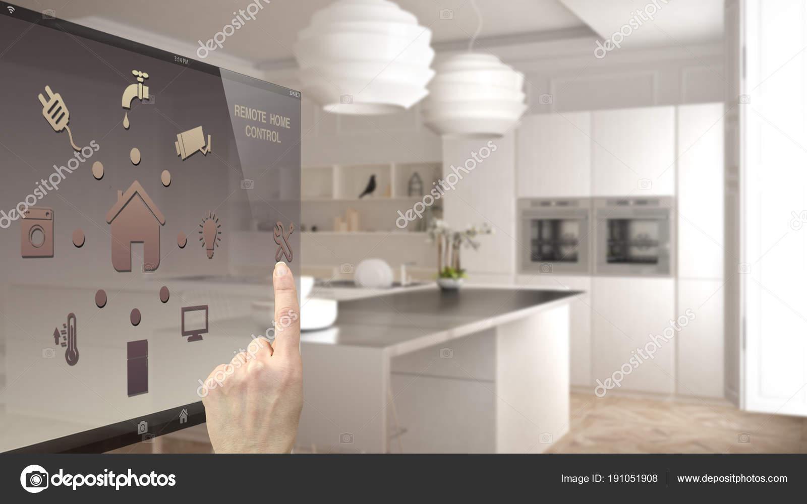 Cucina Moderna Digitale.Smart Concetto Controllo Casa Controllo Digitale