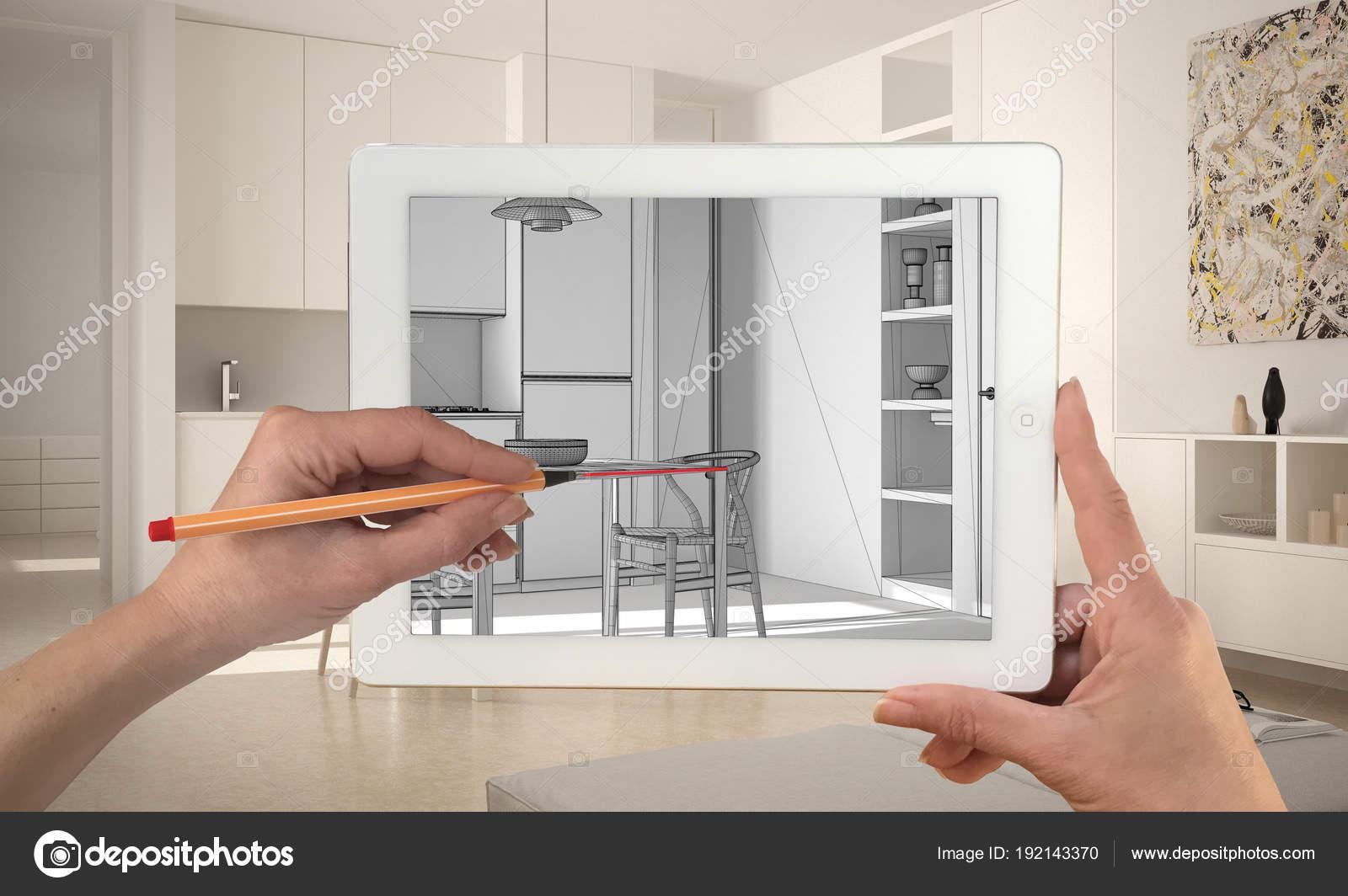 h nde halten und zeichnen auf tablet zeigt moderne k che cad skizzieren echte fertigen. Black Bedroom Furniture Sets. Home Design Ideas