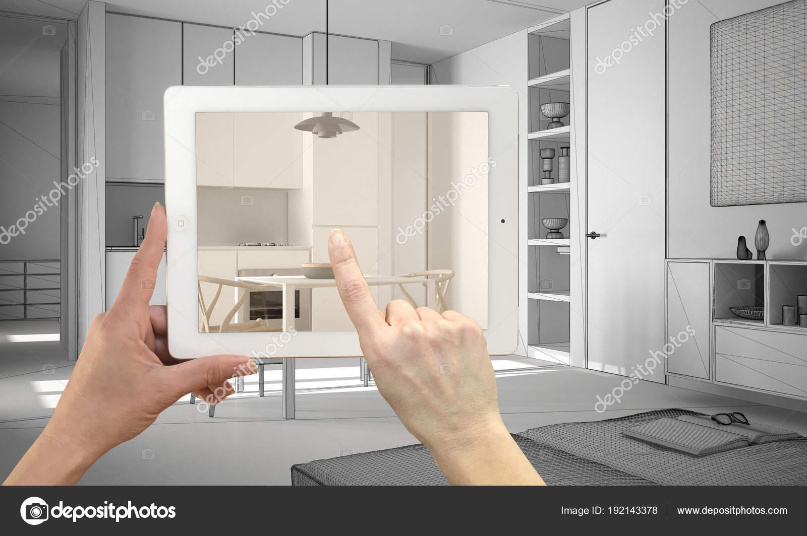 Hände halten und deutete auf Tablet zeigt echte fertig ...