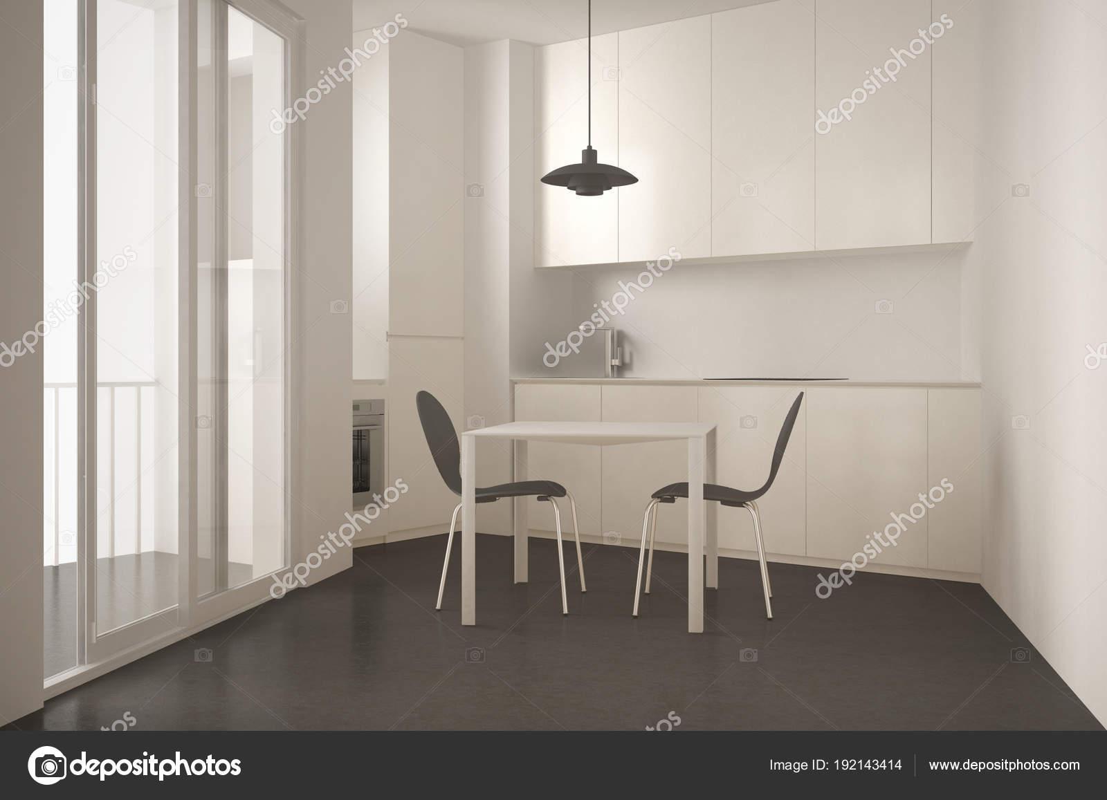 Minimalistische moderner Küche mit großem Fenster und Esszimmer ...
