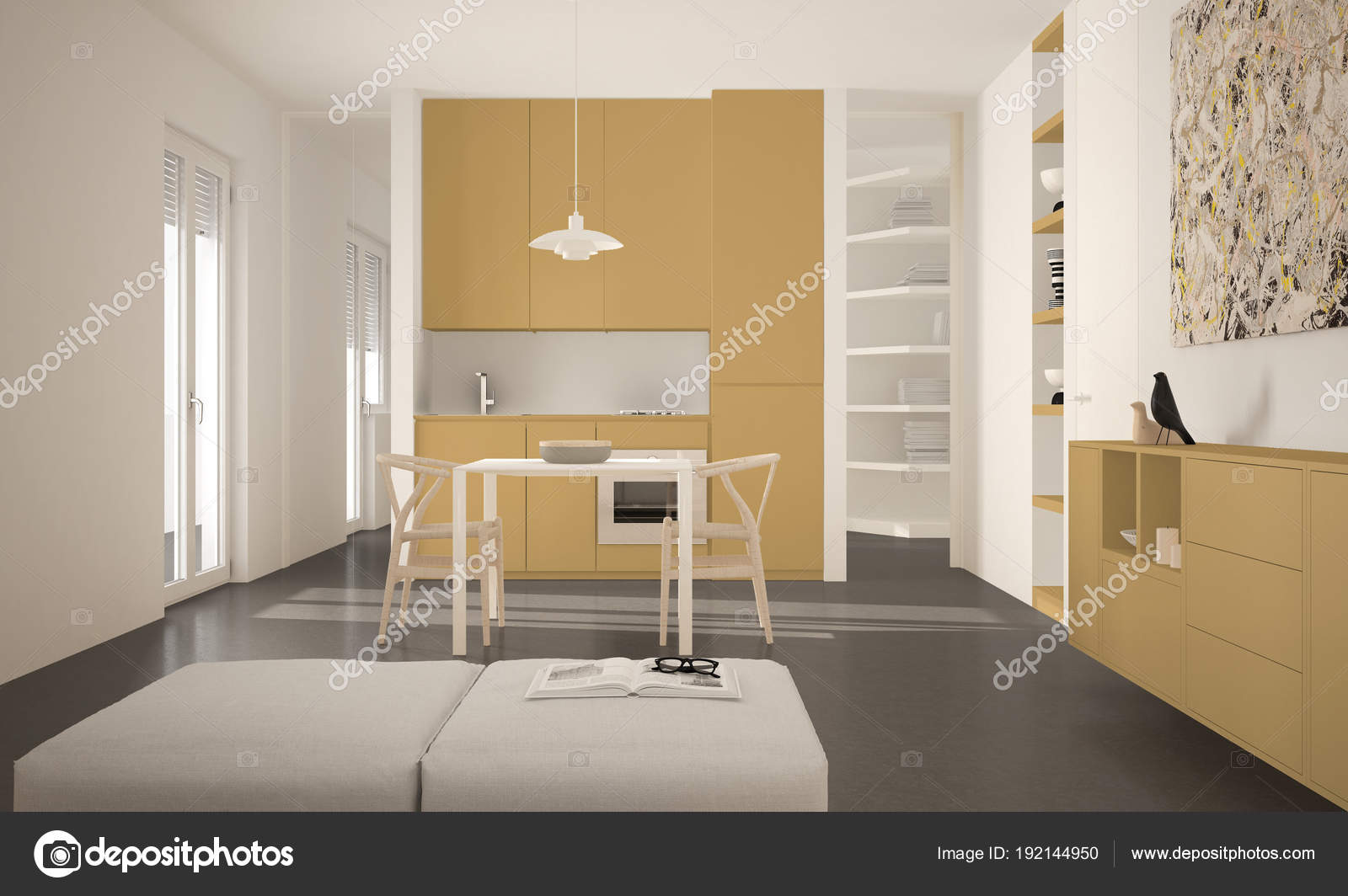 minimalist modern bright kitchen with dining table and chairs big