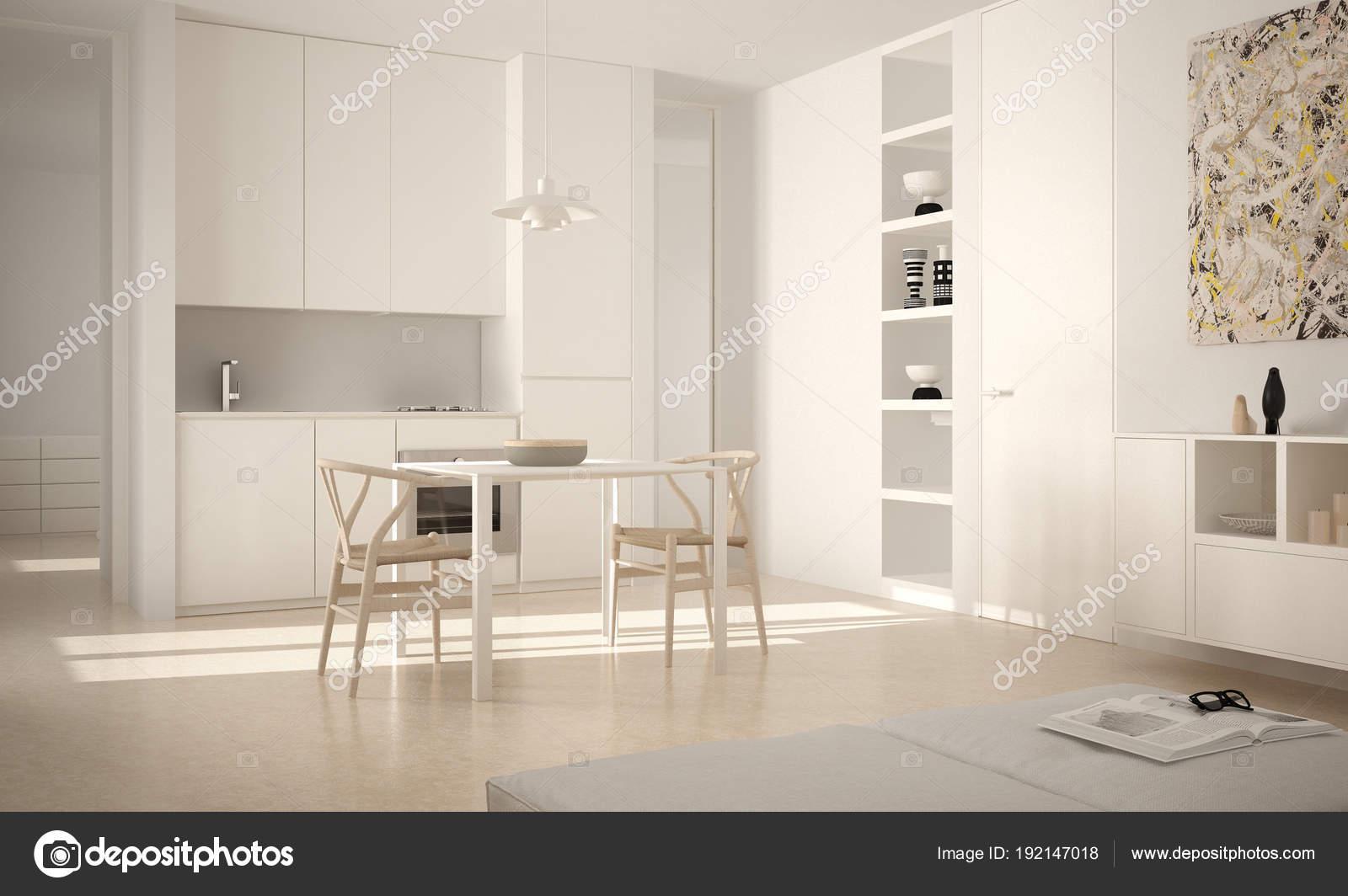 Eettafel Stoelen Modern.Minimalistische Moderne Lichte Keuken Met Eettafel En Stoelen