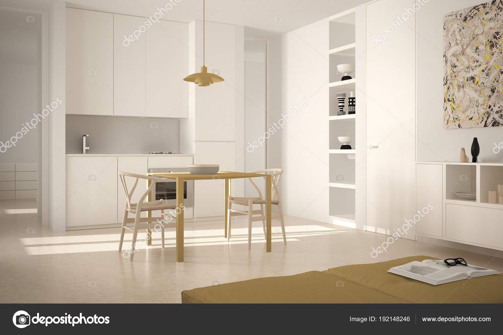 Minimalistische moderne helle Küche mit Esstisch und Stühle, große ...