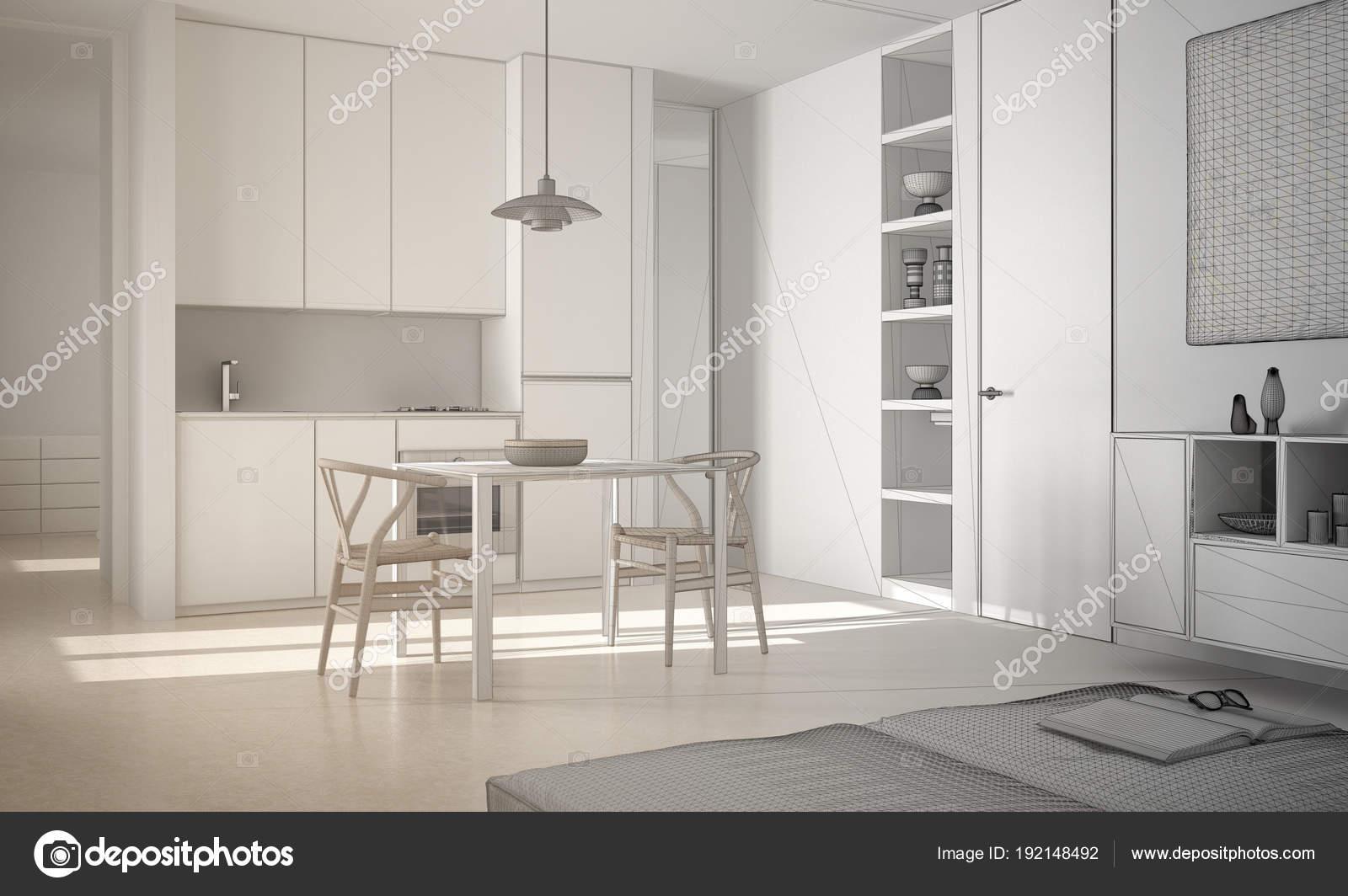 Onvoltooide project van minimalistische moderne lichte keuken met ...