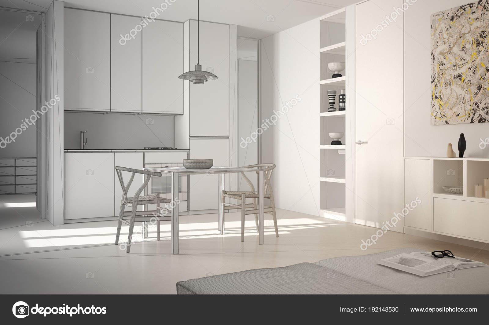 Onvoltooide project van minimalistische moderne lichte keuken met