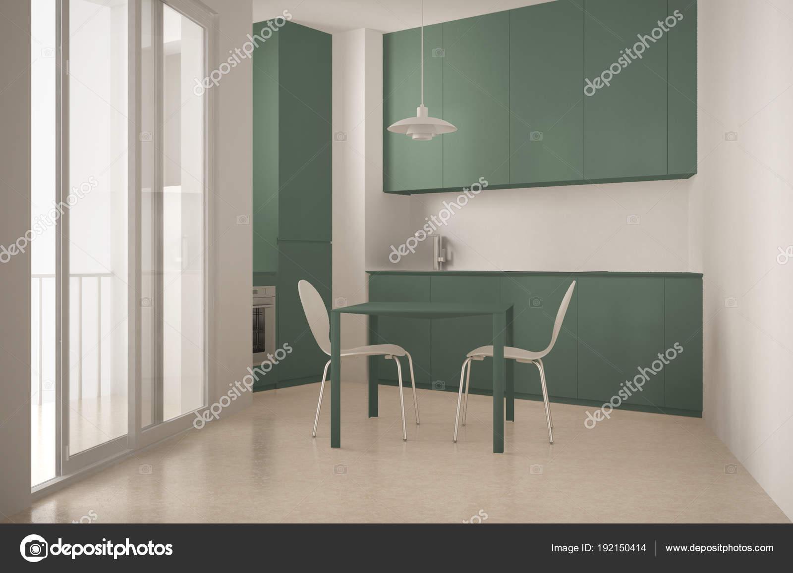 Cucina minimalista moderno con grande finestra e pranzo ...