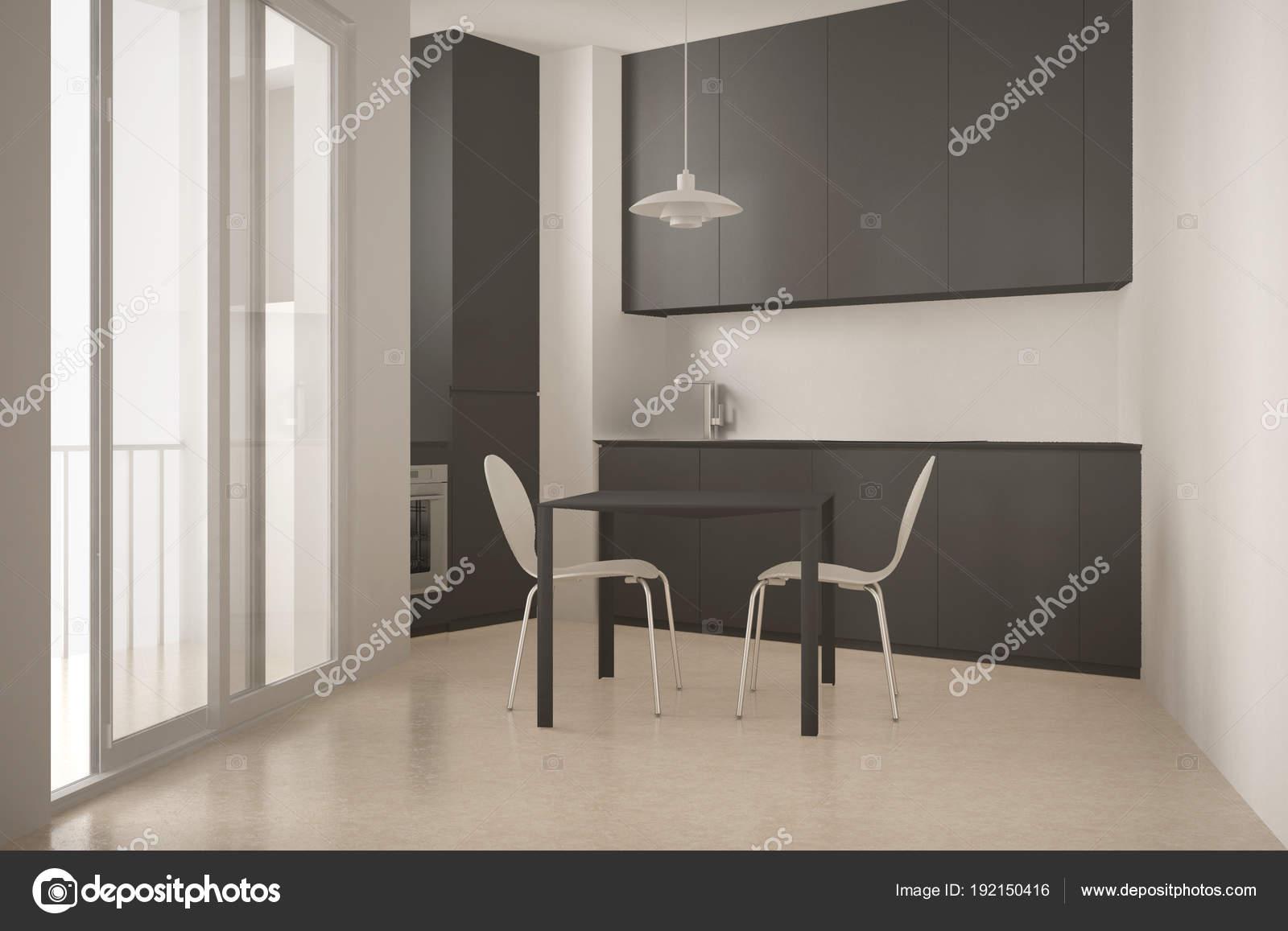 Minimalistische Interieur Inrichting : Minimalistische moderne keuken met groot raam en eetkamer tafel