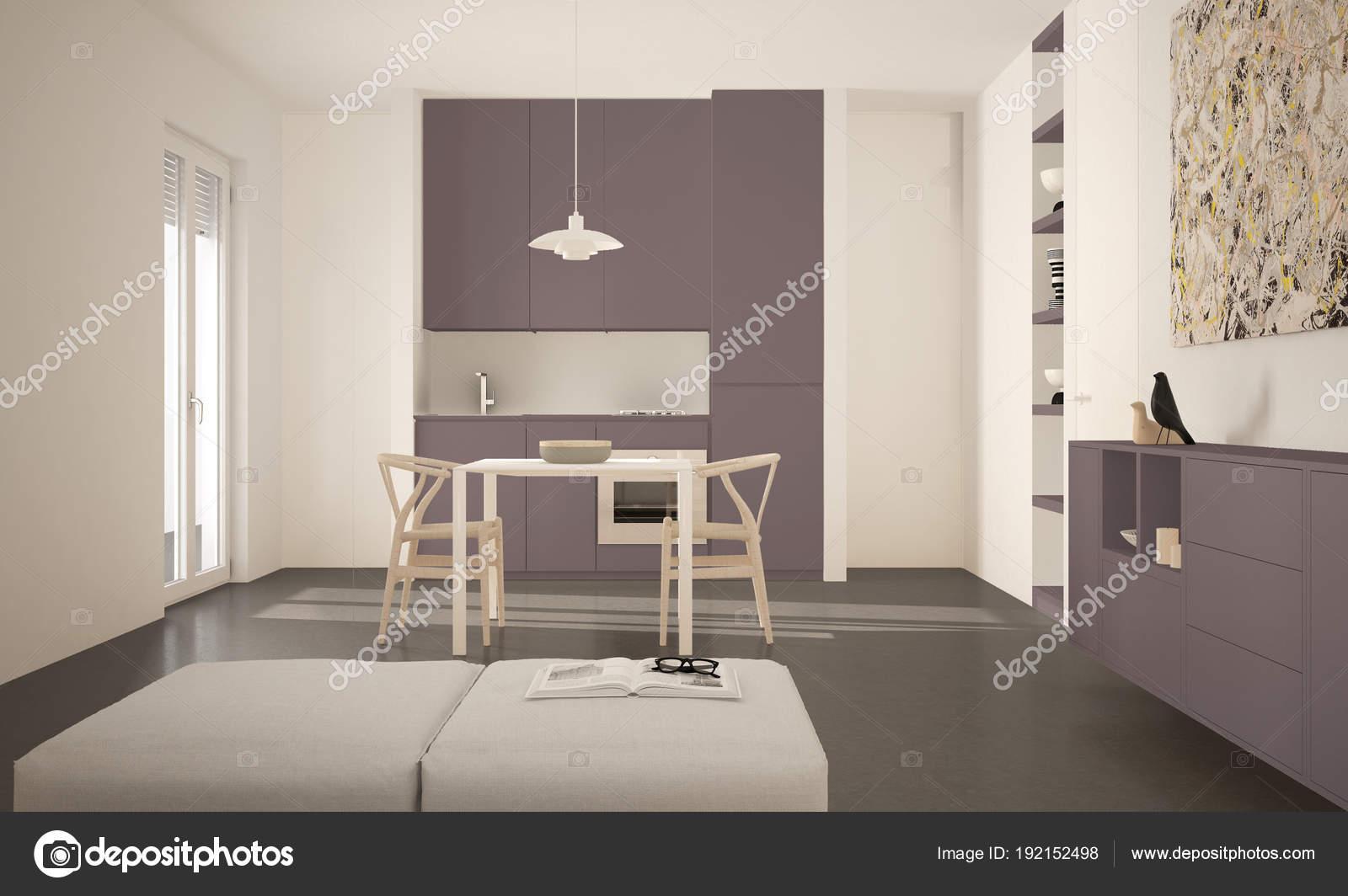 Minimalista moderna luminosa cucina con tavolo da pranzo e sedie ...