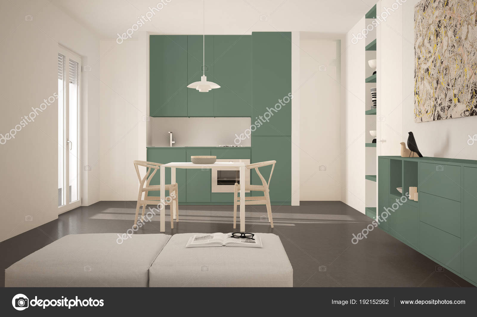 Tavoli Da Pranzo Grandi.Minimalista Moderna Luminosa Cucina Con Tavolo Da Pranzo E Sedie