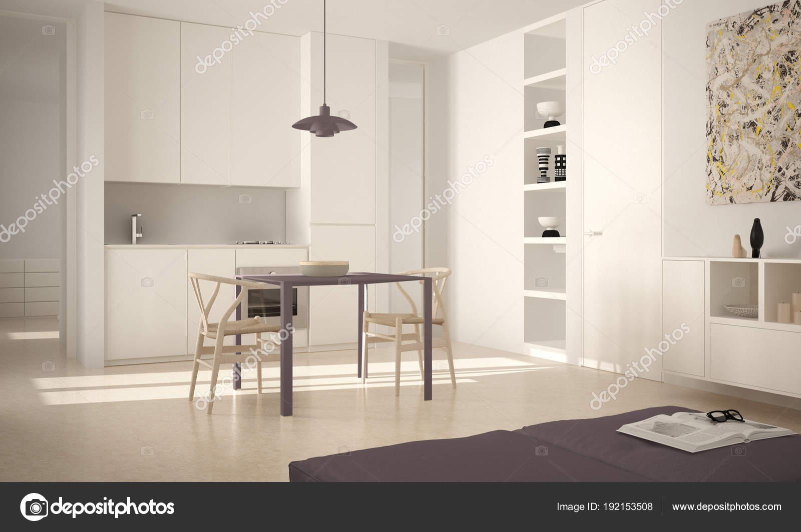 Moderne Witte Eettafel.Minimalistische Moderne Lichte Keuken Met Eettafel En
