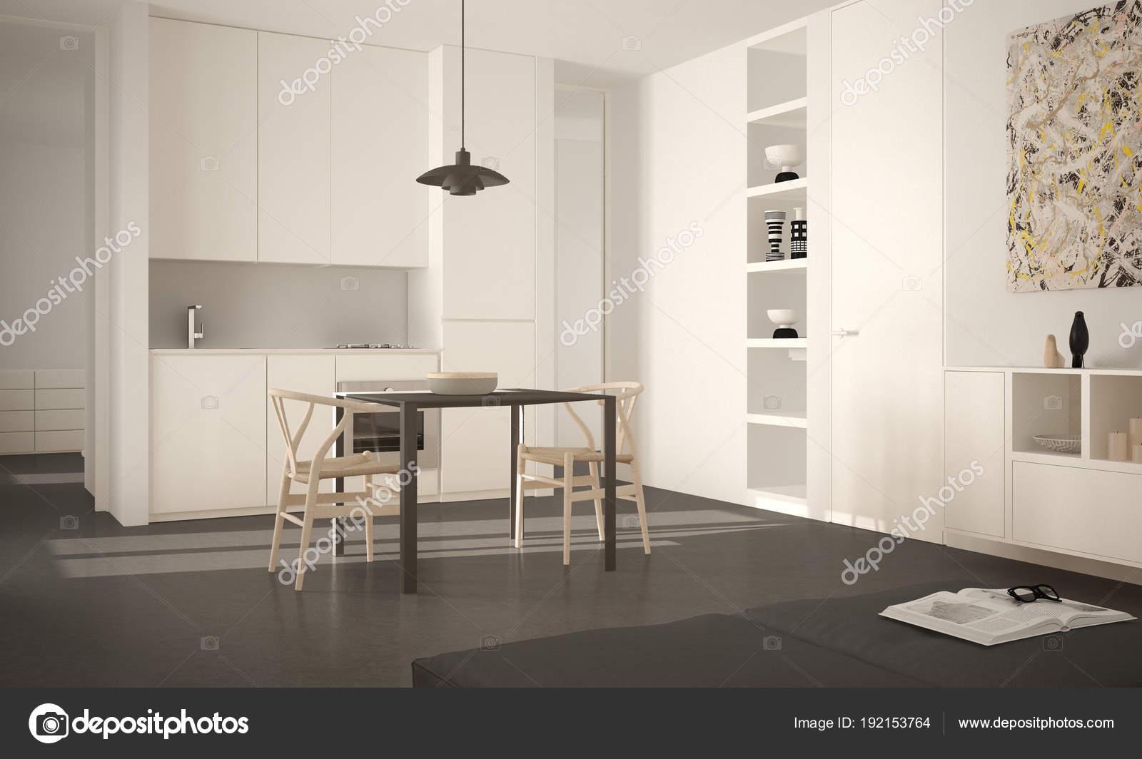 Moderne Witte Stoelen.Minimalistische Moderne Lichte Keuken Met Eettafel En Stoelen Grote