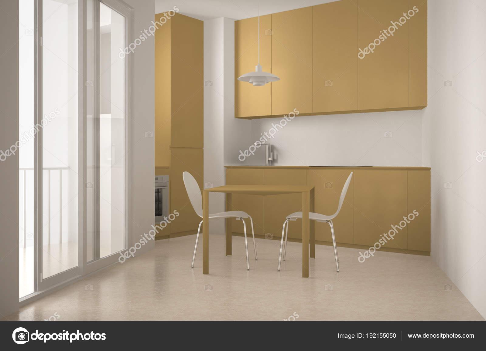 Minimalistische moderner küche mit großem fenster und esszimmer