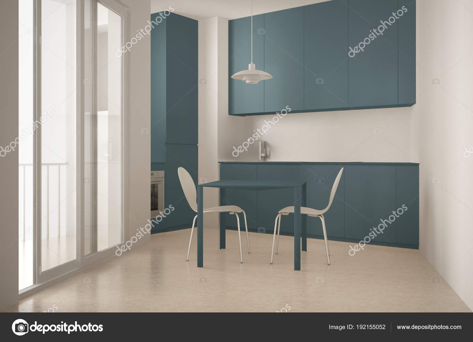 Cucina minimalista moderno con grande finestra e tavolo da pranzo ...