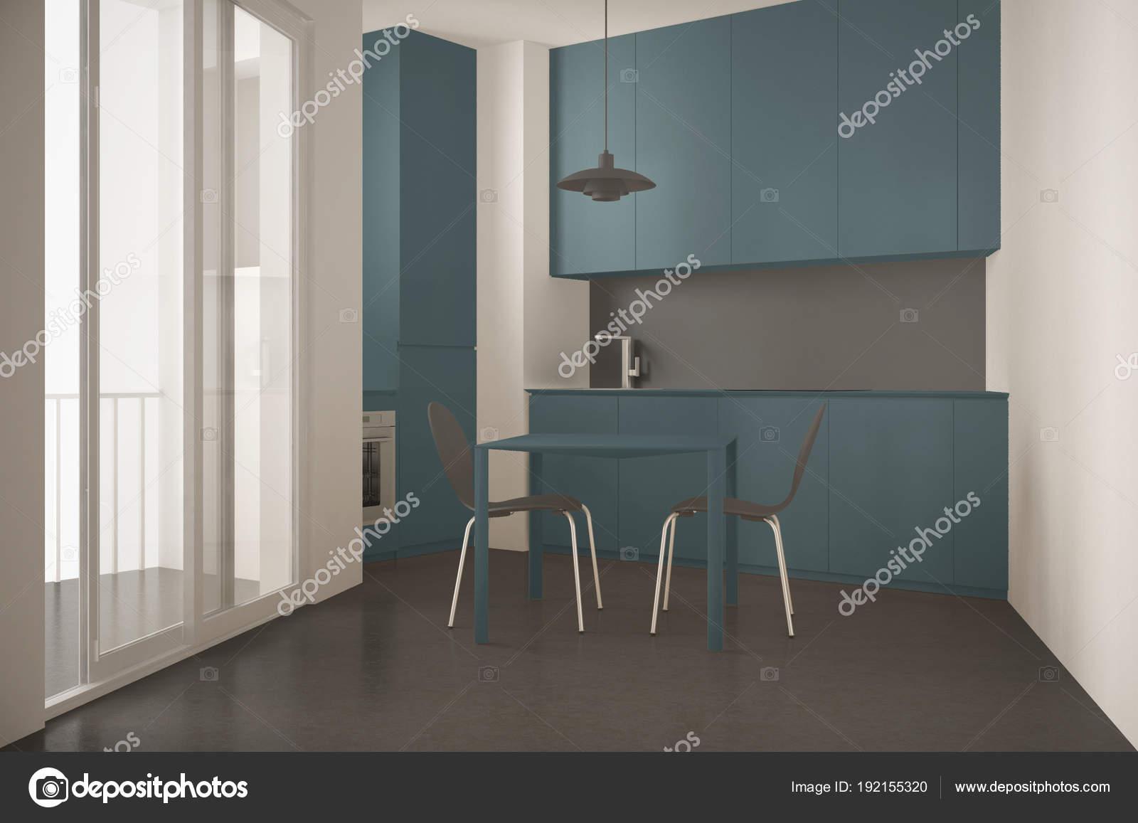 Minimalistische moderne Küche mit großem Fenster und Esstisch mit ...