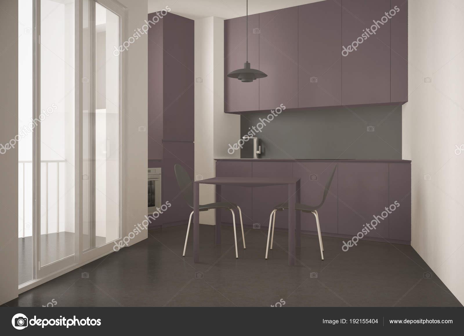 Cocina moderna minimalista con gran ventana y mesa con sillas, gris ...