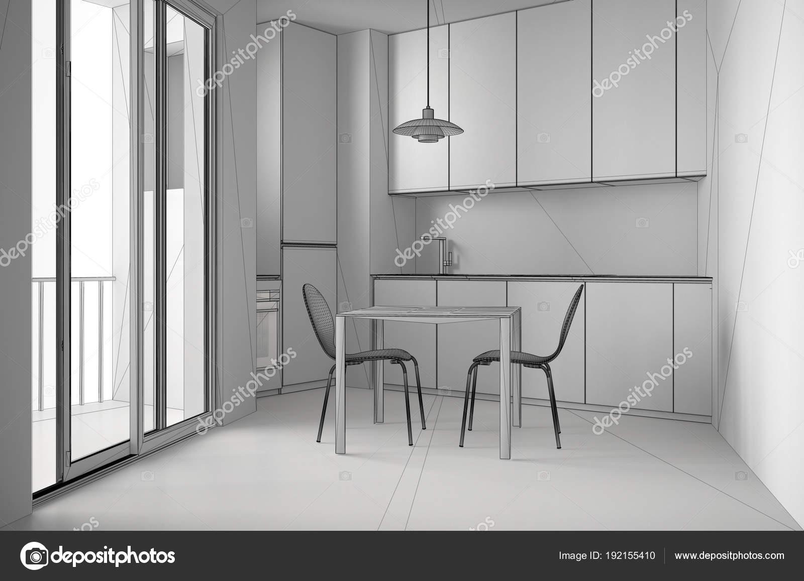 Tavoli Da Cucina Moderni : Progetto incompiuto di cucina minimalista moderno con grande