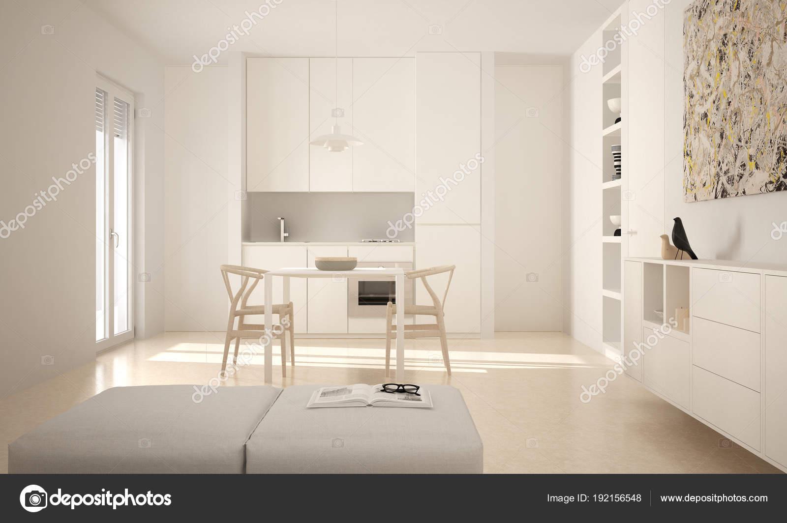 Minimalistische moderne lichte keuken met eettafel en stoelen, grote ...