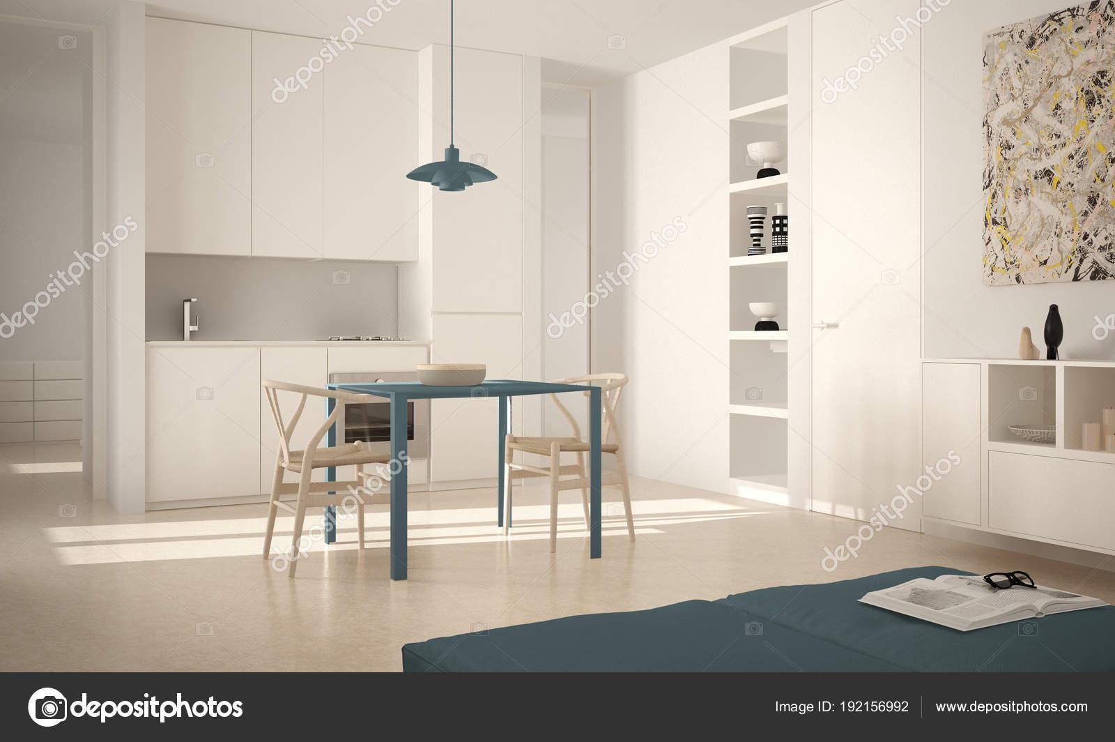 Sedie Blu Cucina : Minimalista moderna luminosa cucina con tavolo da pranzo e sedie
