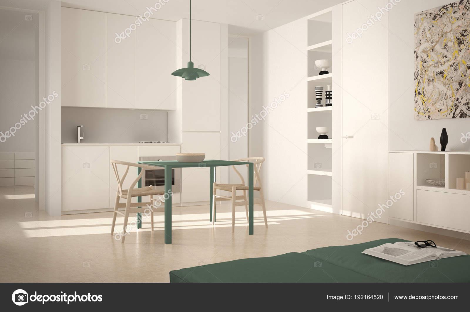 Minimalistische moderne lichte keuken met eettafel en stoelen