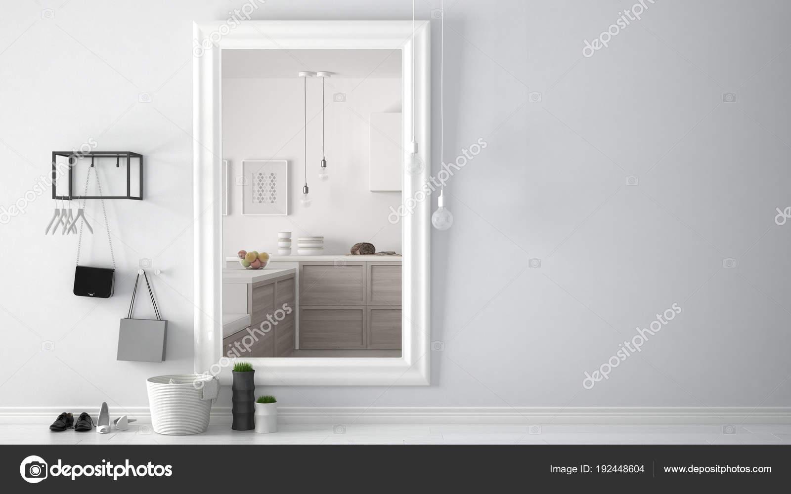 Skandinavische lobby eingangshalle mit spiegel helle küche mit