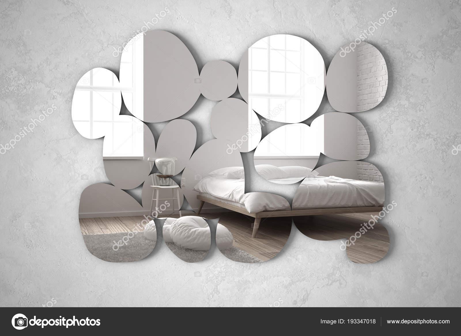 Moderner Spiegel In Kieselsteinform An Der Wand Der Die Innenarchitektur Reflektiert Helles Schlafzimmer Mit Bett Stuhl Und Tischlampe Minimalistische Weisse Architektur Stockfoto C Archiviz 193347018