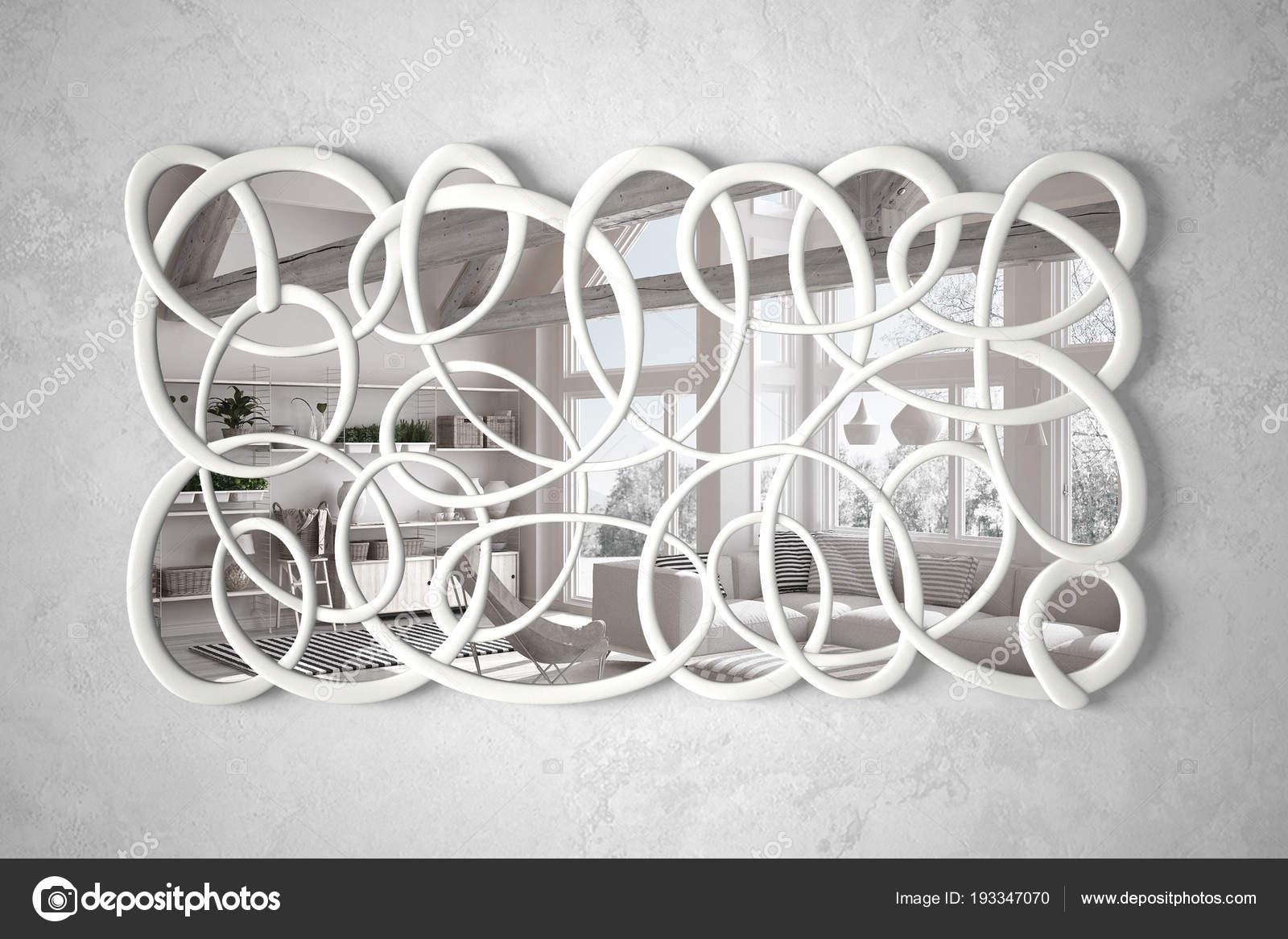 Specchio moderno forma attorcigliata appeso alla parete che ...