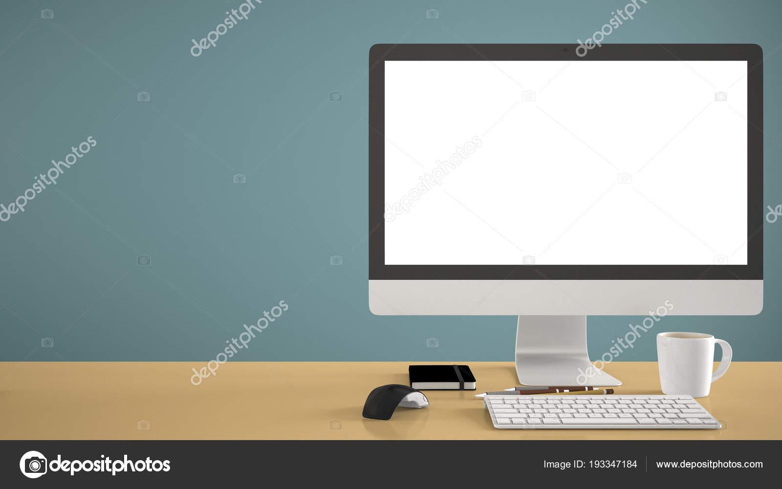 Mockup Desktop Template Computer Sulla Scrivania Giallo Con