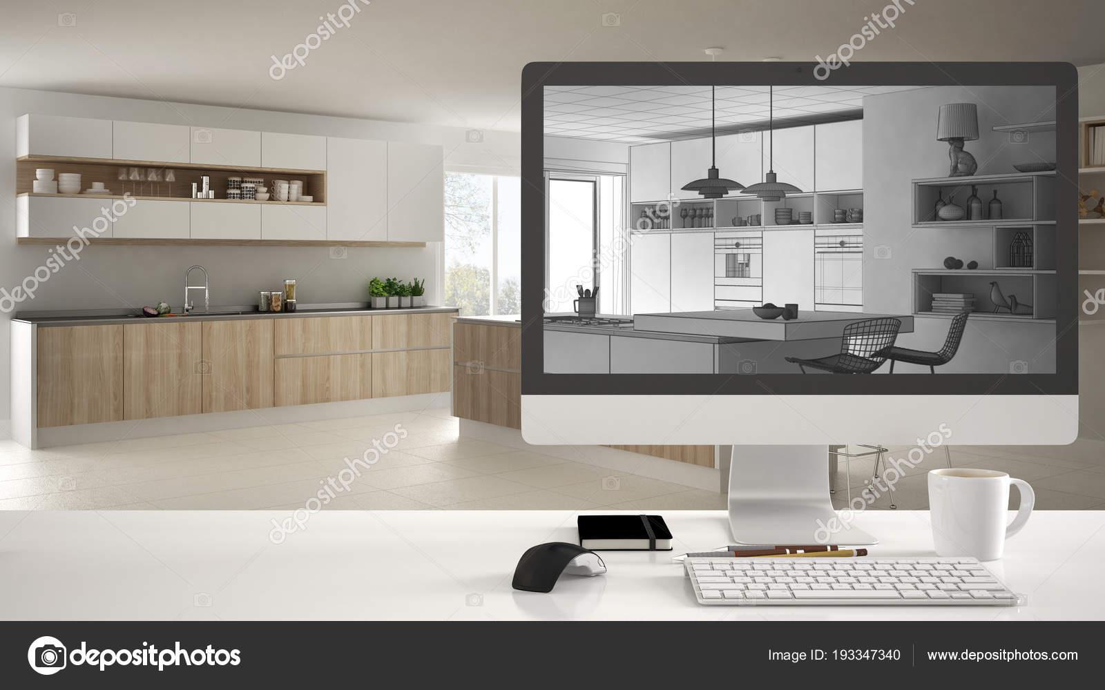 Innenarchitektur Cad architekt haus projektkonzept desktop computer auf weiß work