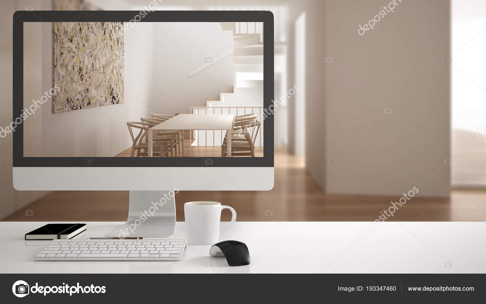 Concept de projet architecte maison ordinateur de bureau le
