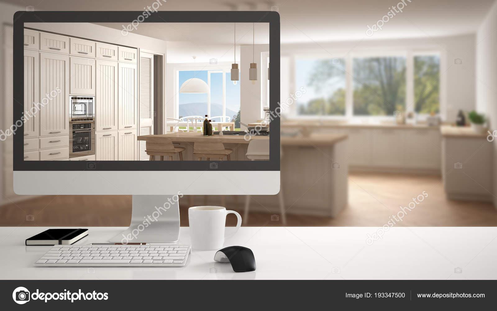 Concept de projet de maison ordinateur de bureau sur l affichage