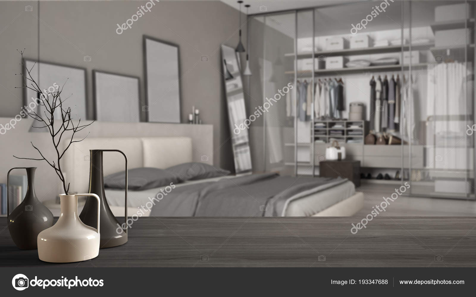 Wooden Table Top Or Shelf With Minimalistic Modern Vases Over Blurred  Classic Minimalistic Bedroom, White