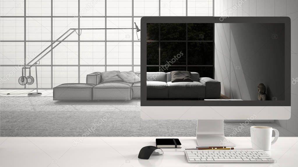 concepto de proyecto de casa computadora de escritorio en
