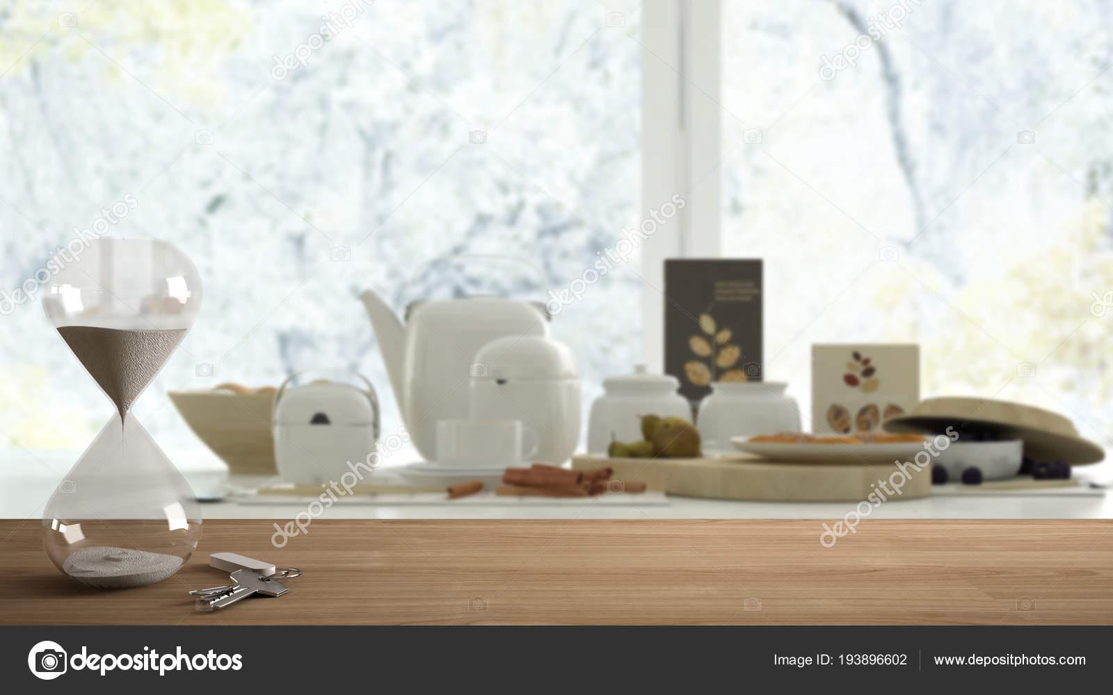 Table en bois bureau ou une étagère avec sablier moderne crystal