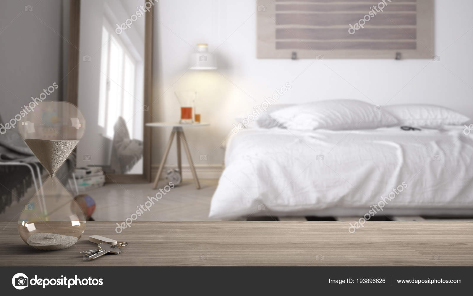 Wooden Table Desk Or Shelf With Crystal Modern Hourglass Measuring The Passing Time In A Countdown To A Deadline And House Keys Over Blurred Diy Bedroom Architecture Interior Design Copy Space Back