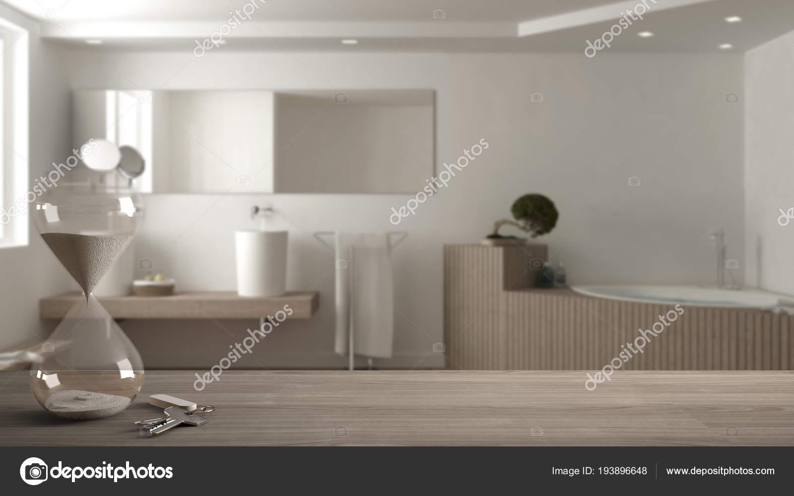 Houten tafel, Bureau of plank met moderne zandloper crystal de ...
