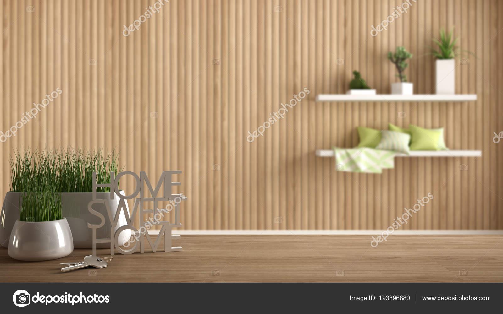 Table en bois bureau ou une étagère avec une plante en pot d