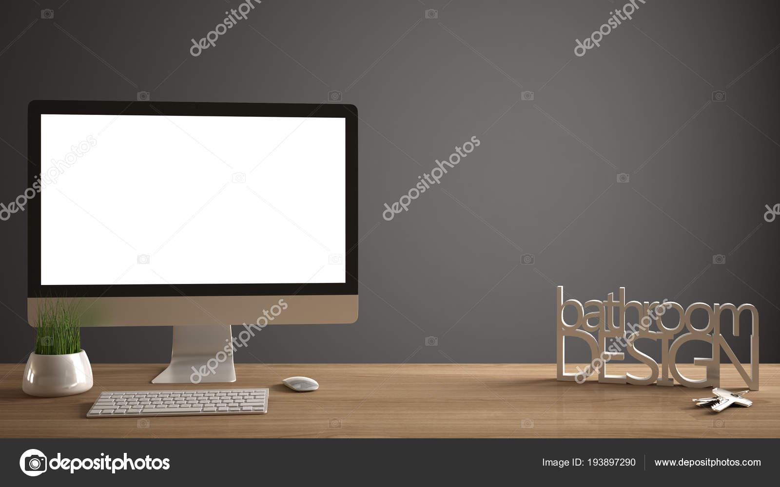 Mockup Desktop Template Computer Sulla Scrivania In Legno Con