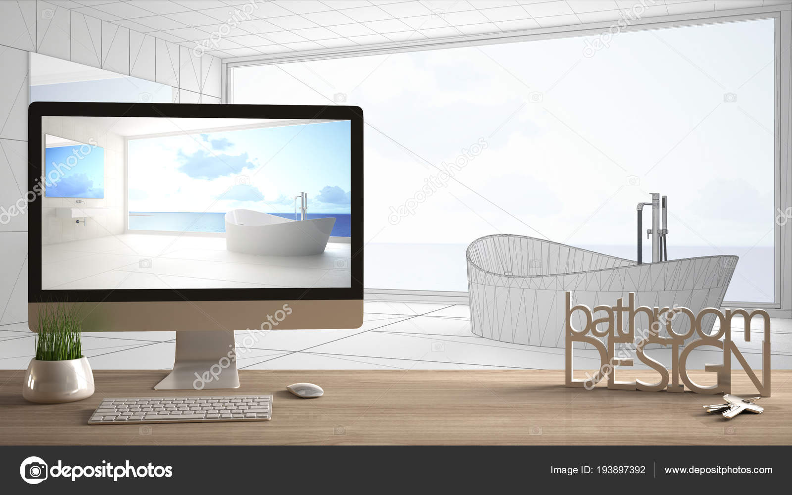 Architect Designer Project Concept Wooden Table With Keys 3d Letters Words Bathroom Design And Desktop Showing Draft Blueprint Cad Sketch In The Background White Interior Design Stock Photo C Archiviz 193897392