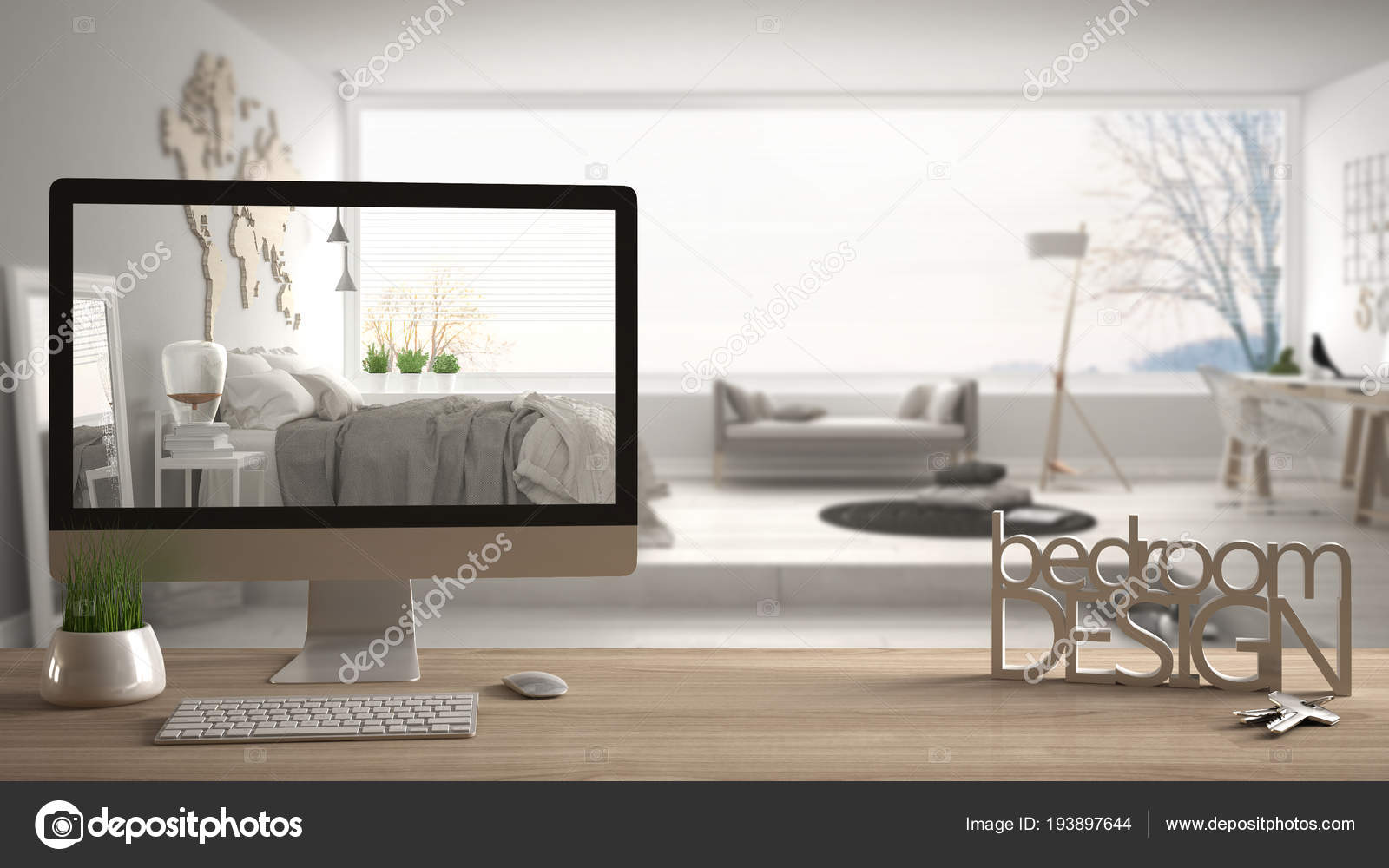 Architect Designer Project Concept Wooden Table With Keys 3d Letters Making The Words Bedroom Design And Desktop Showing Draft Blurred Space In The Background Interior Design Stock Photo C Archiviz 193897644