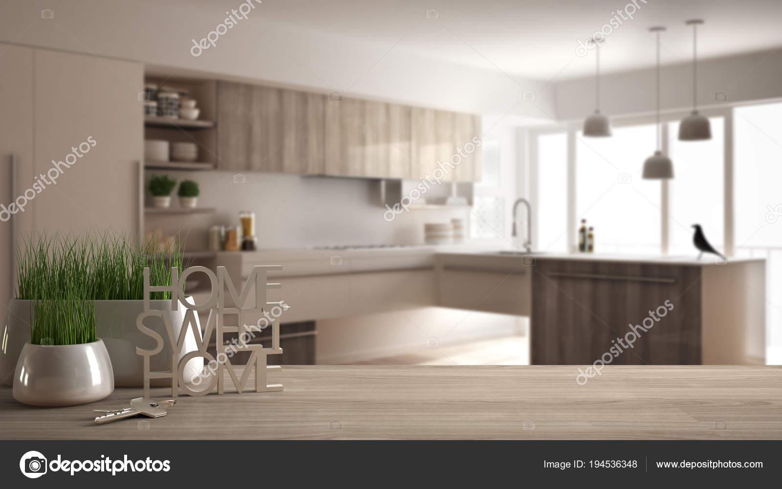 Drewniany Stół Lub Półka Doniczkowa Roślina Klucze Do Domu