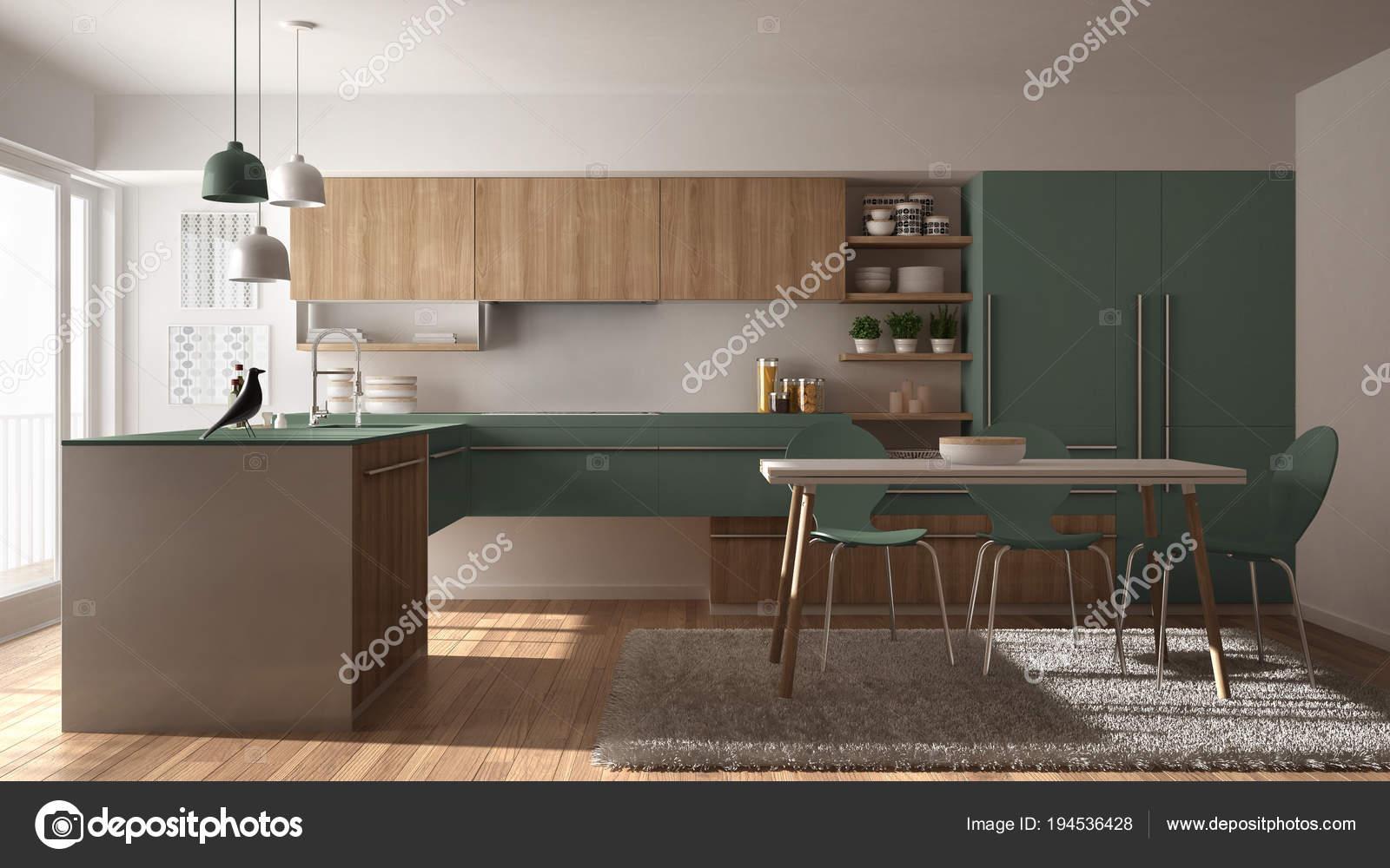 cuisine en bois minimaliste moderne avec table à manger, tapis et