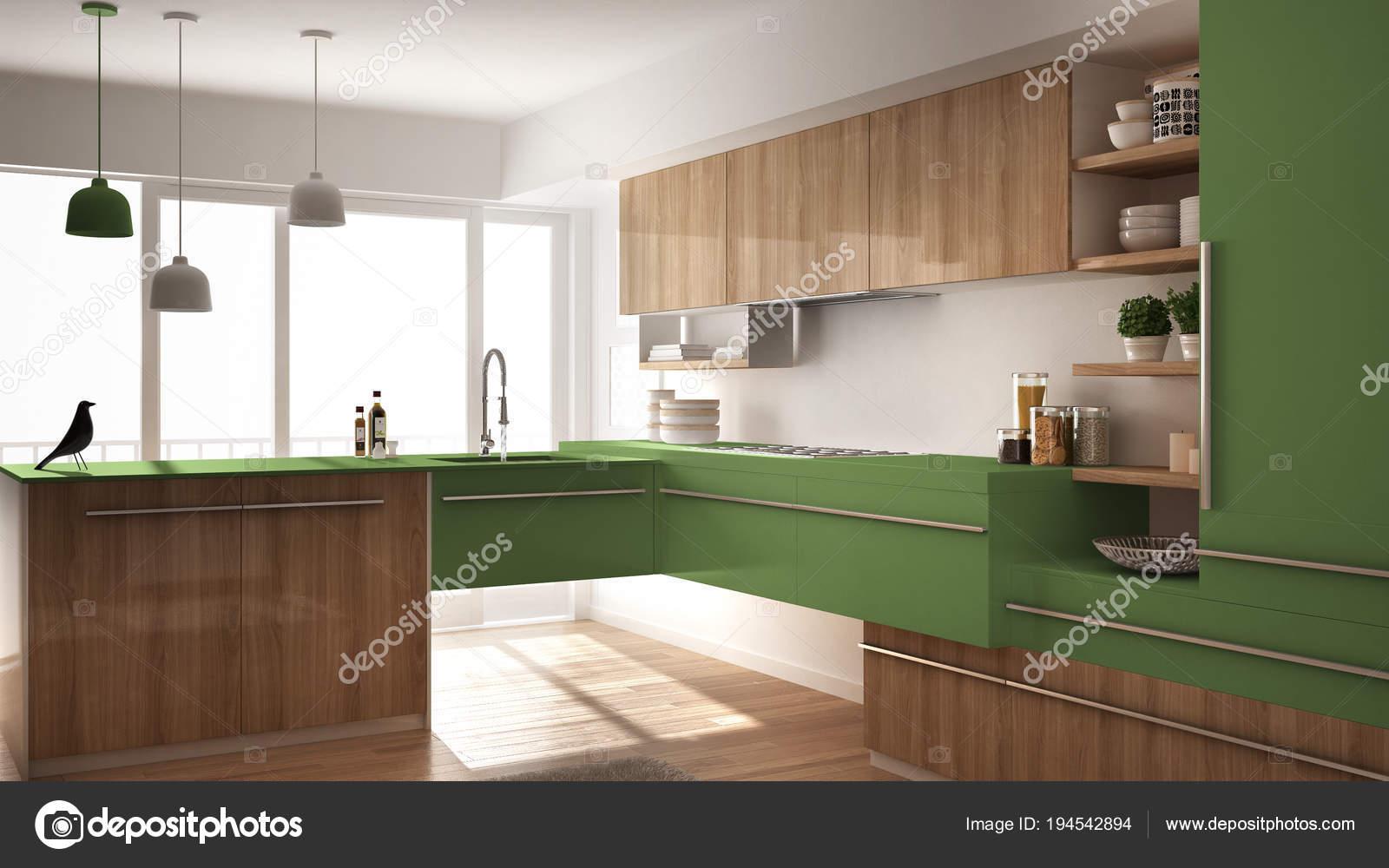 Cucina in legno minimalista moderna con pavimento in parquet ...