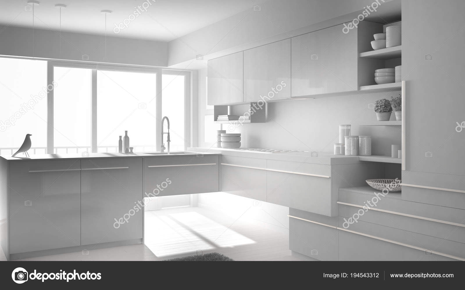 Witte Minimalistische Woonkeuken : Totale witte project van moderne minimalistische keuken met eiland