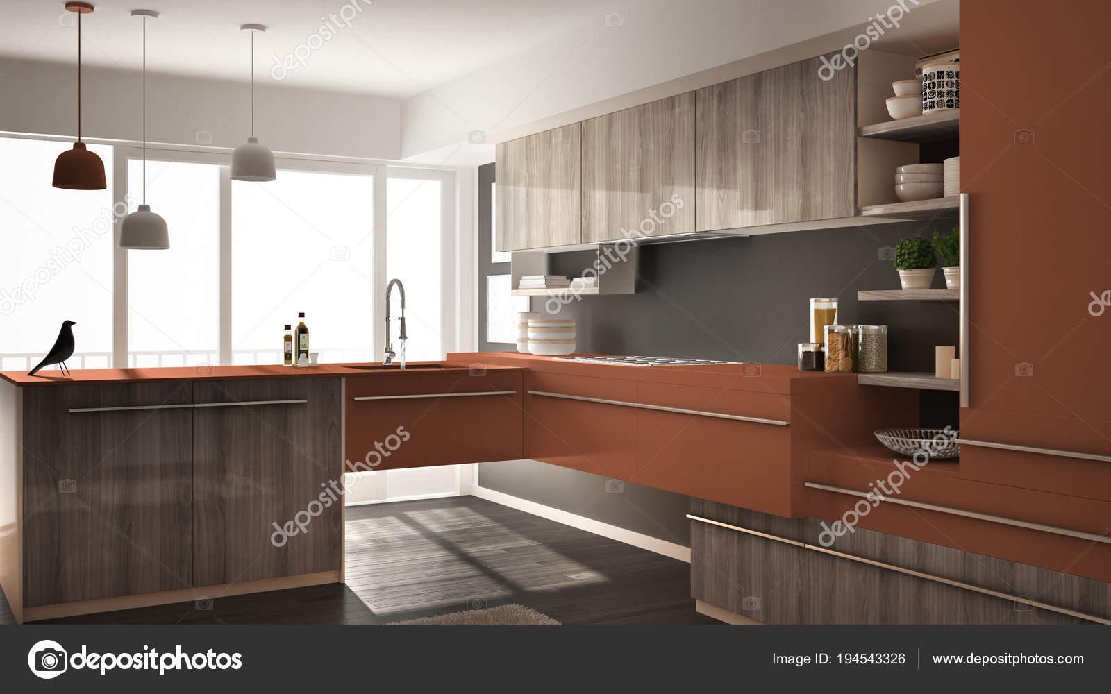 Nowoczesny Minimalistyczny Drewniane Kuchnia Z Parkietem