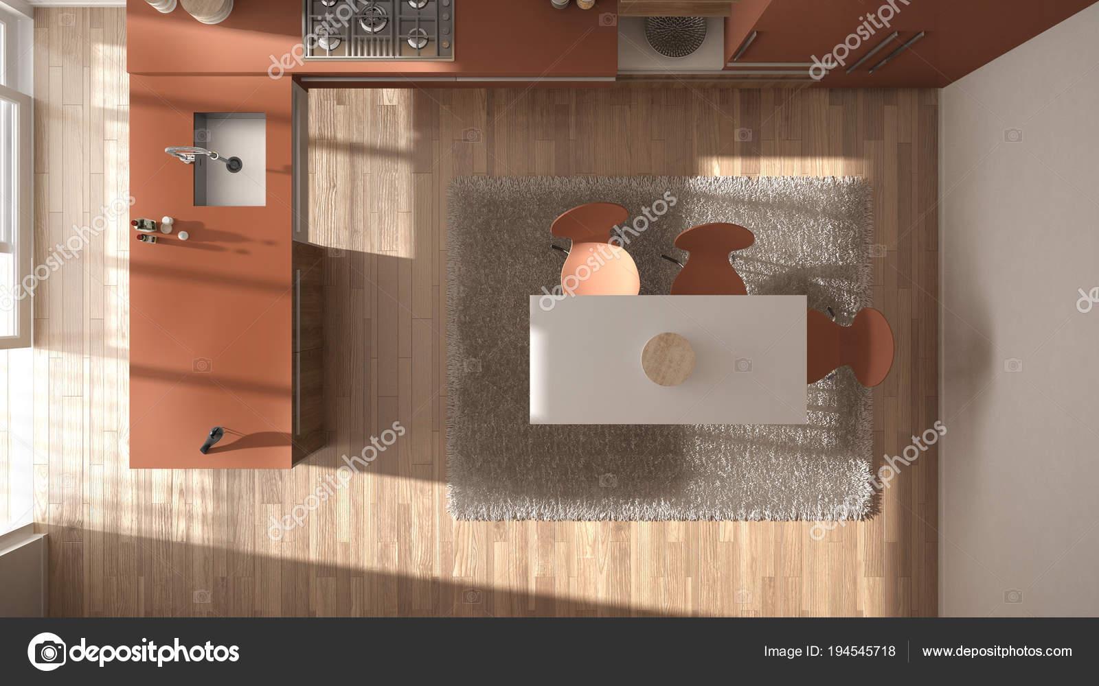 Haut de la page vue, cuisine en bois minimaliste moderne ...