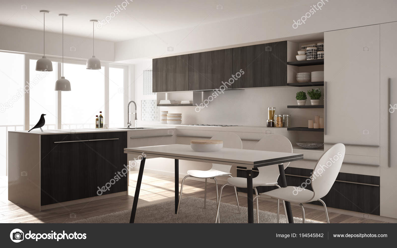 Cocina moderna de madera minimalista con mesa de comedor, alfombras ...
