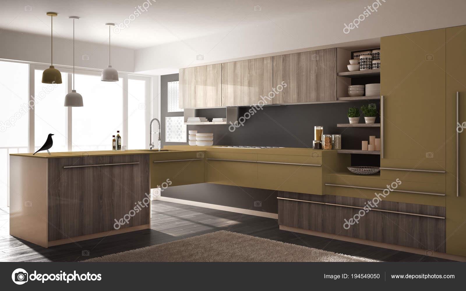Geel De Keuken : Moderne minimalistische houten keuken met parketvloer tapijt en